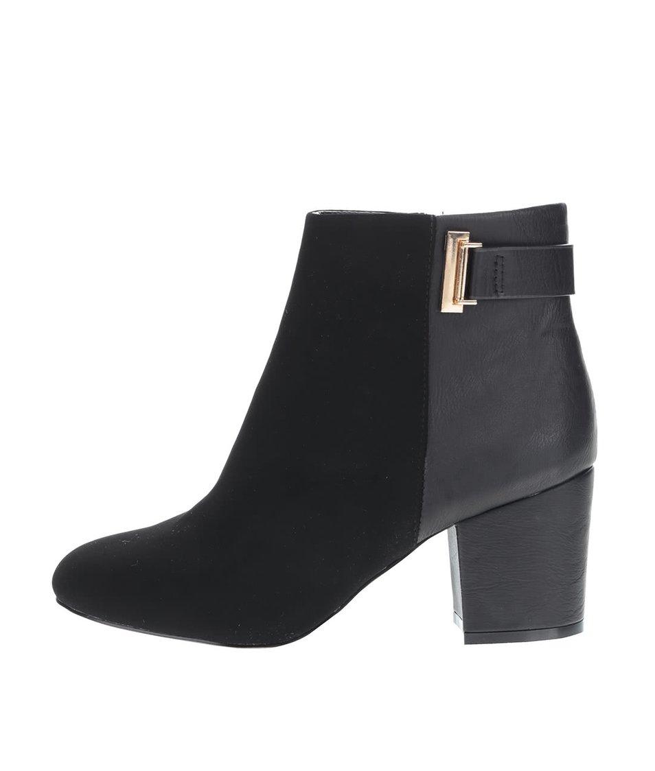 Černé kotníkové boty na podpatku v semišové úpravě  Miss Selfridge Alba