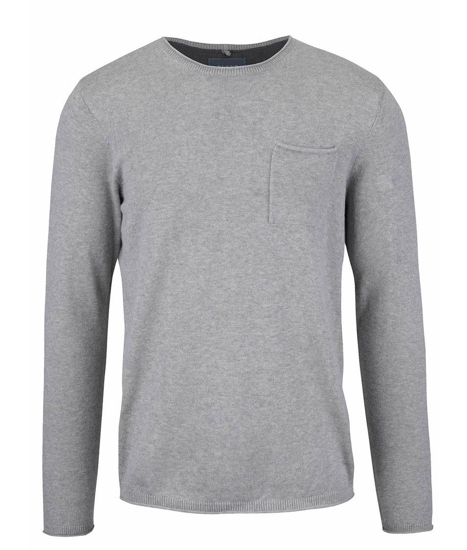 Světle šedý svetr s kapsou Blend