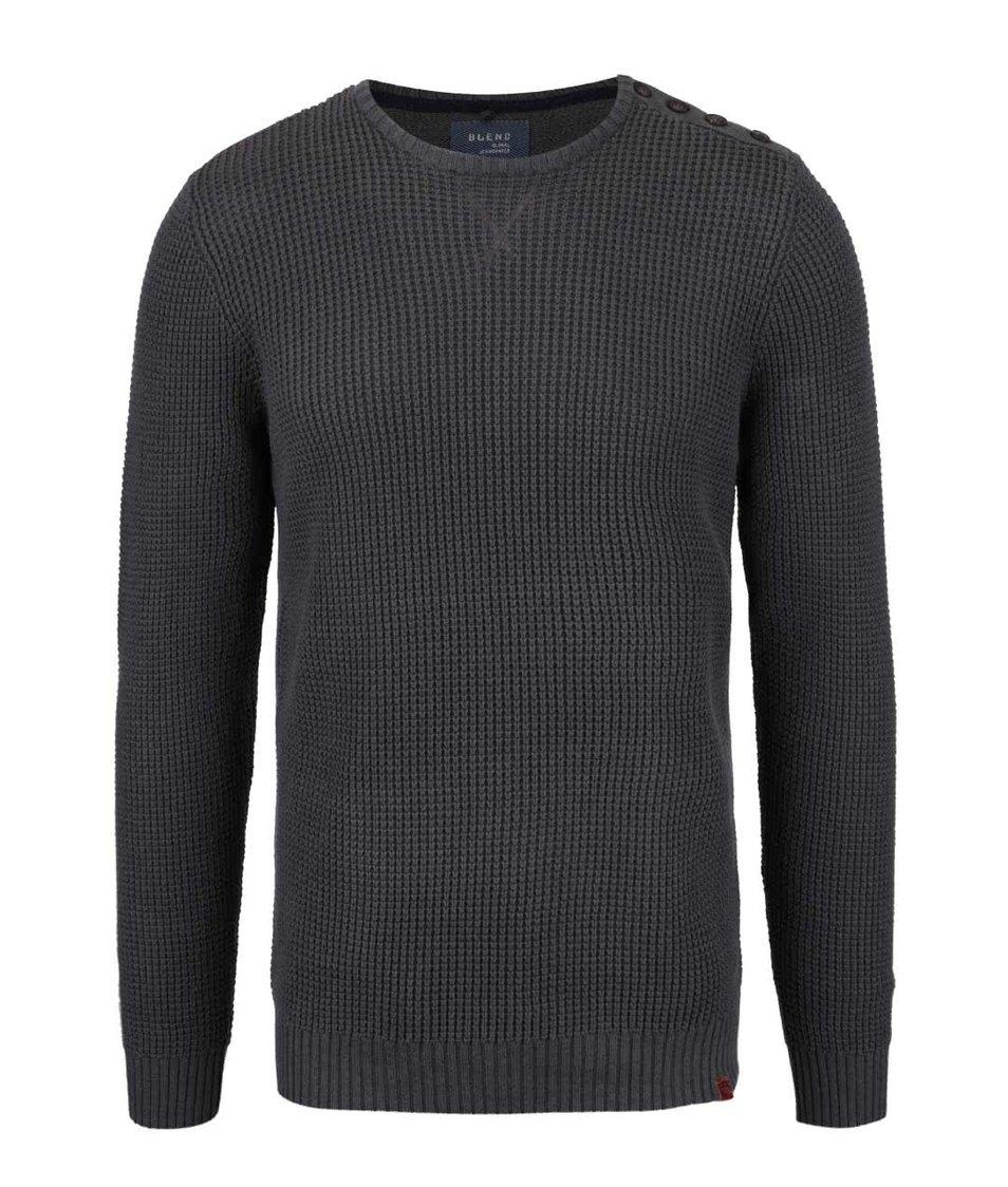 Tmavě šedý svetr s rozepínáním u krku Blend