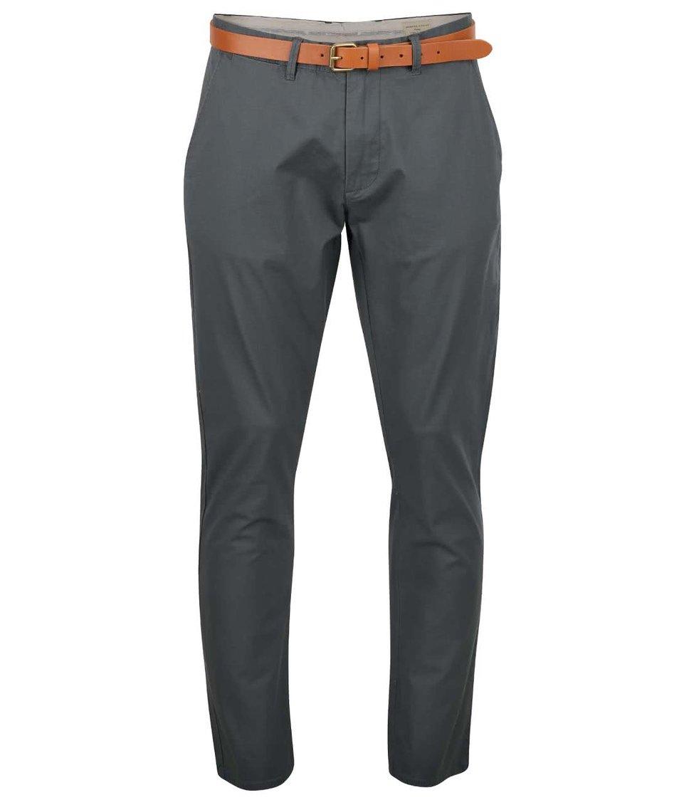 Zelenošedé chino kalhoty s páskem Selected Homme Yard