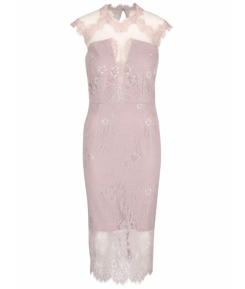 Světle fialové krajkované šaty s průsvitnými rameny a výstřihem Little Mistress