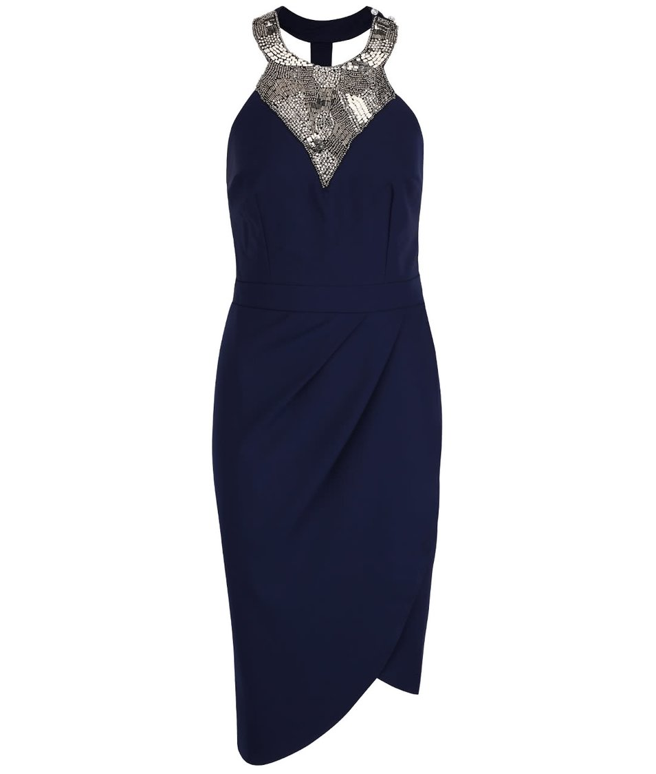 Tmavě modré šaty s překládanou sukní a korálkovým dekoltem Little Mistress