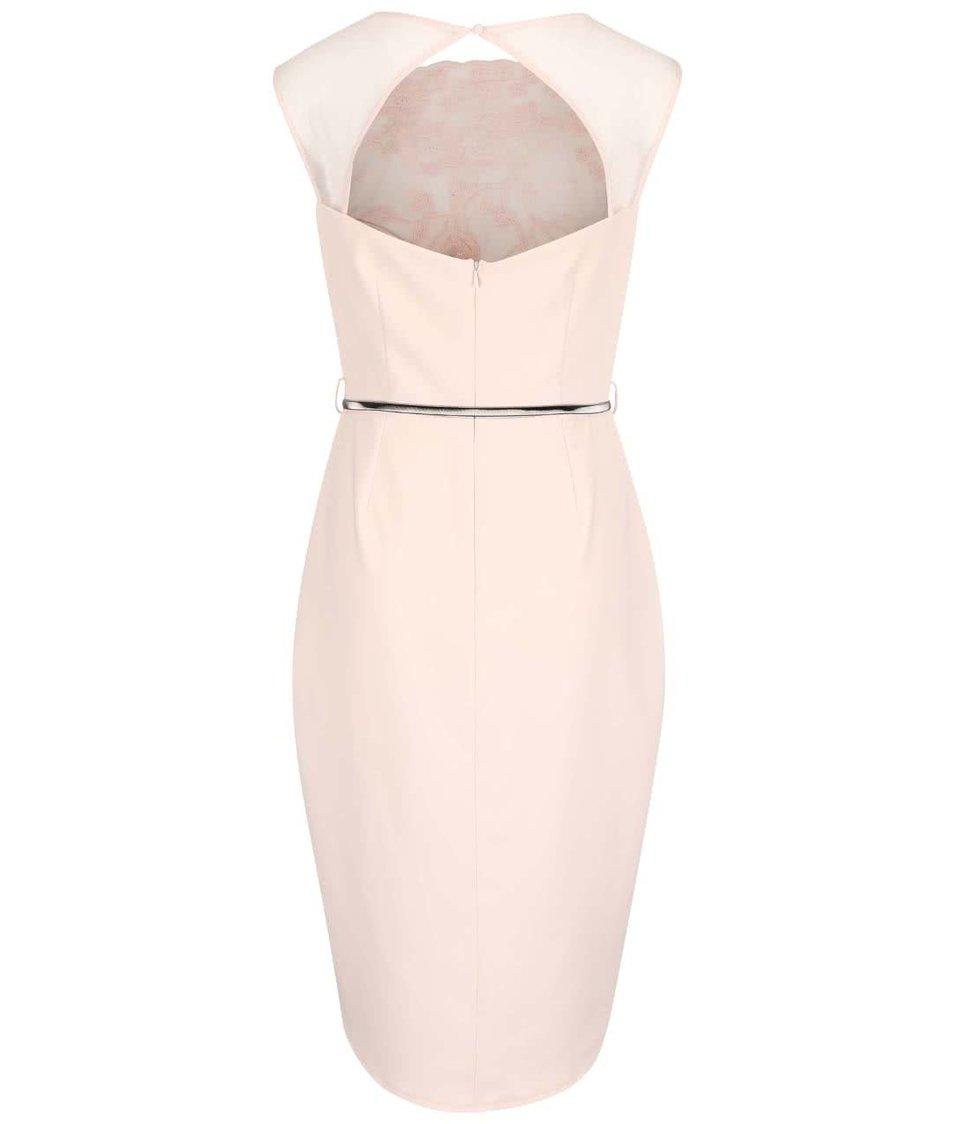Světle růžové šaty s krajkovaným topem a páskem Little Mistress
