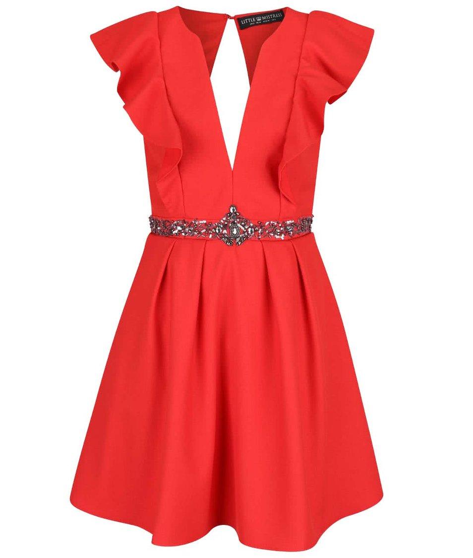 Červené šaty s hlubokým dekoltem a volány Little Mistress