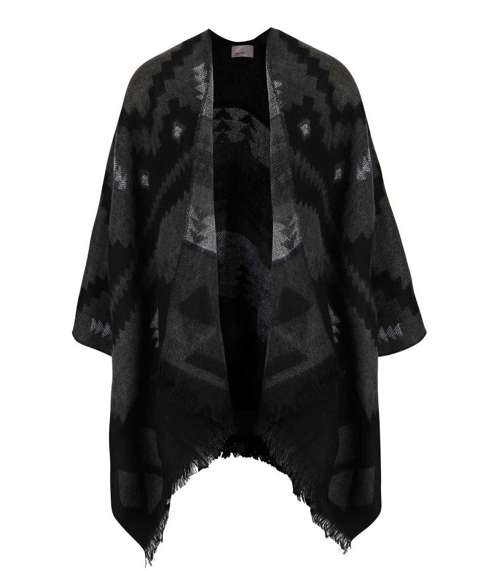 Černo-šedé vzorované pončo Vero Moda Villa