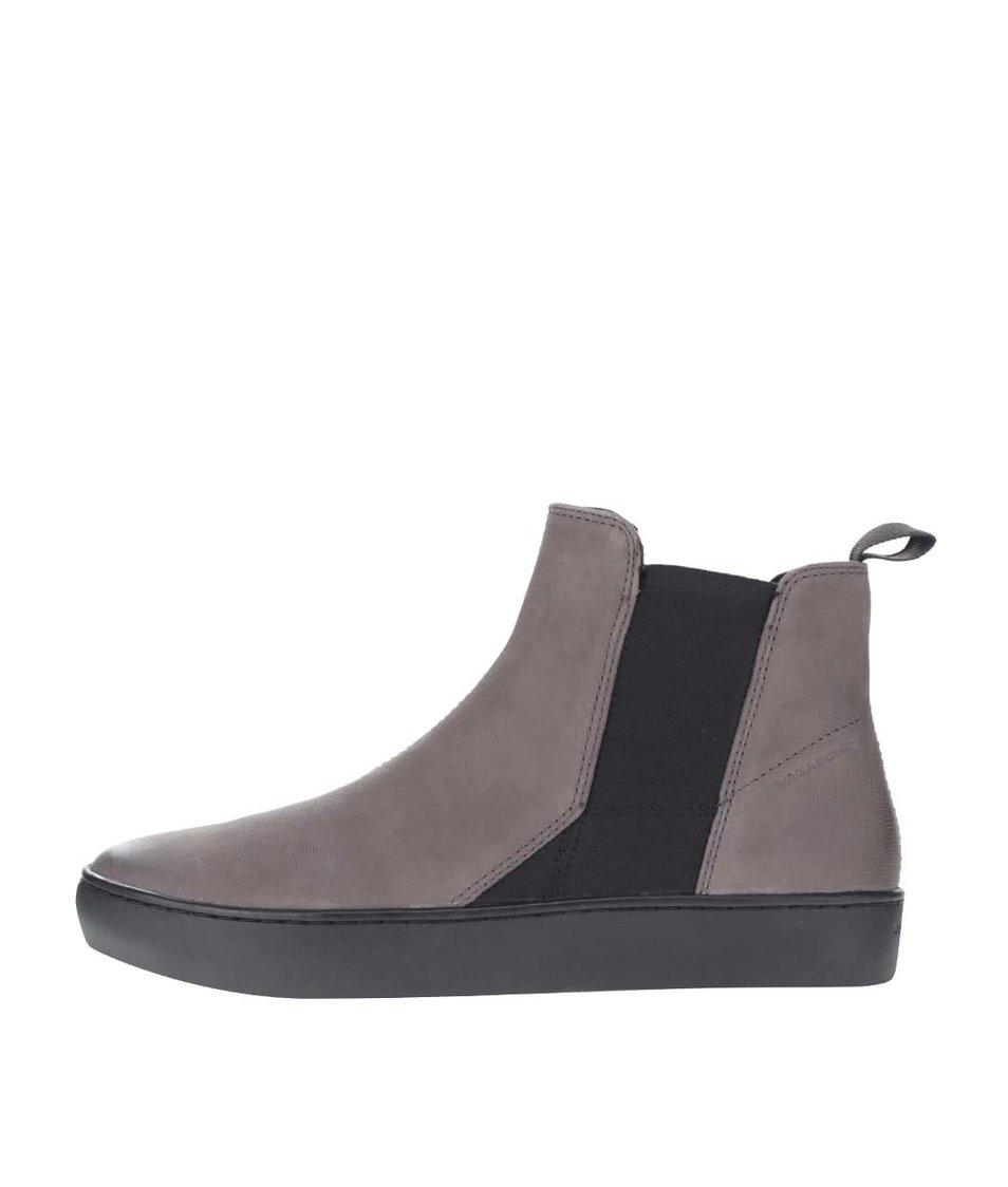 Šedé dámské kožené chelsea boty s gumovými pásy Vagabond Zoe
