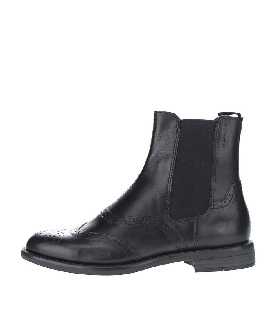 Černé dámské kožené chelsea boty s brogue detaily Vagabond Amina