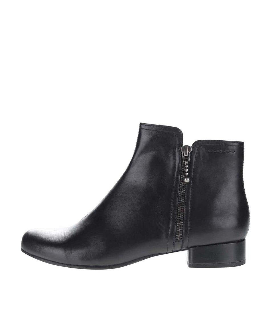 Černé kotníkové kožené boty na malém podpatku Vagabond Sue