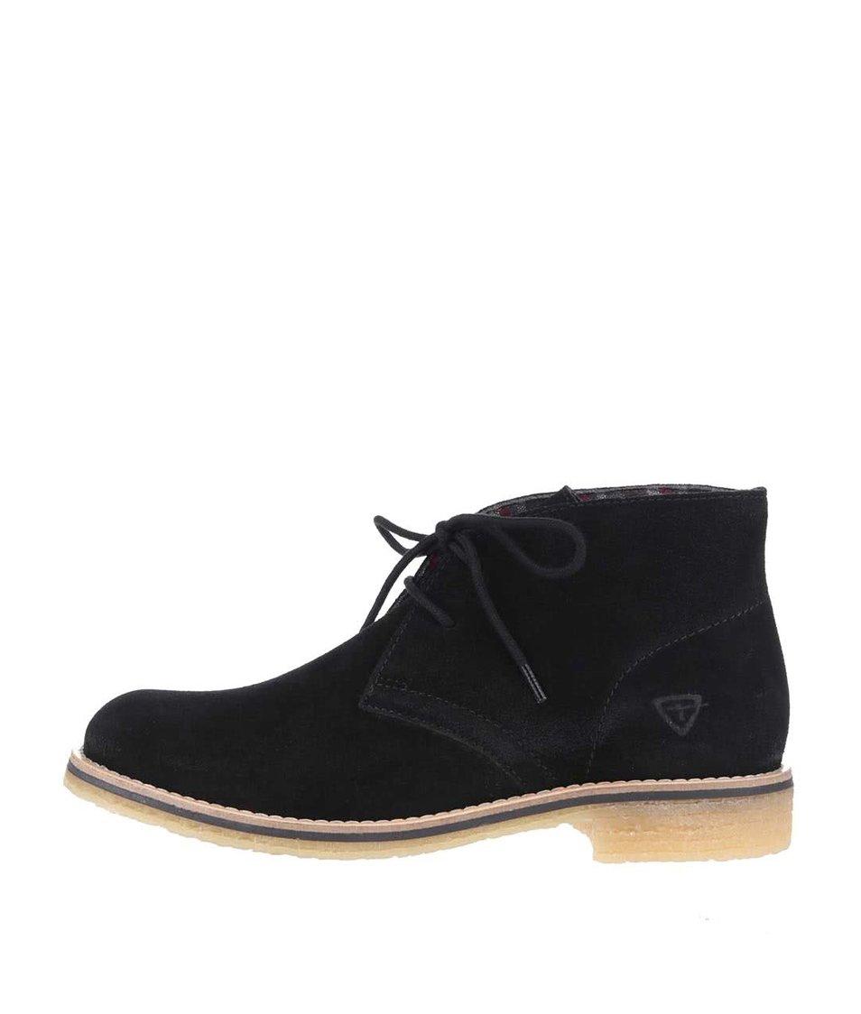 Černé semišové kotníkové boty Tamaris