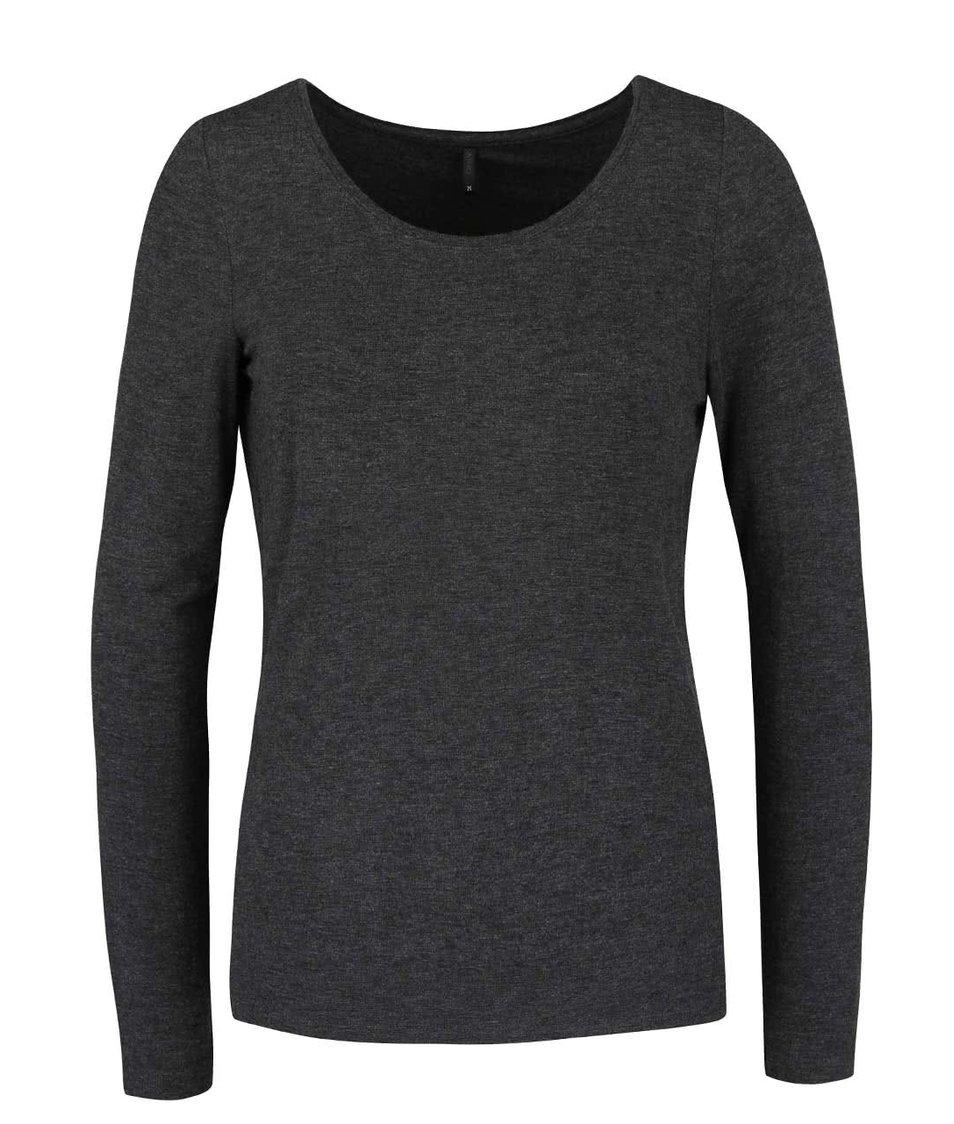 Tmavě šedé žíhané tričko s dlouhým rukávem ONLY Jewel