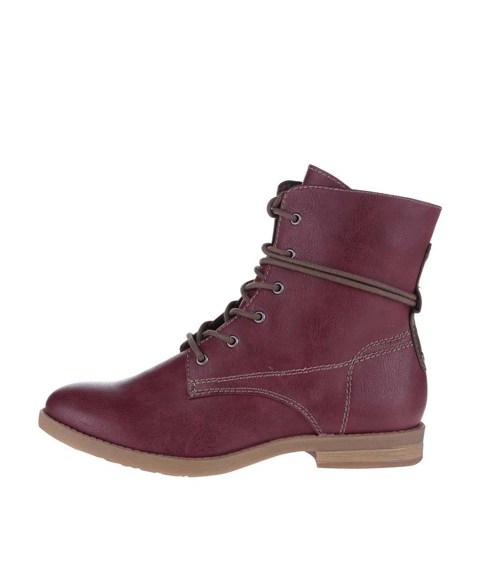 Vínové kotníkové boty se zipem Tamaris