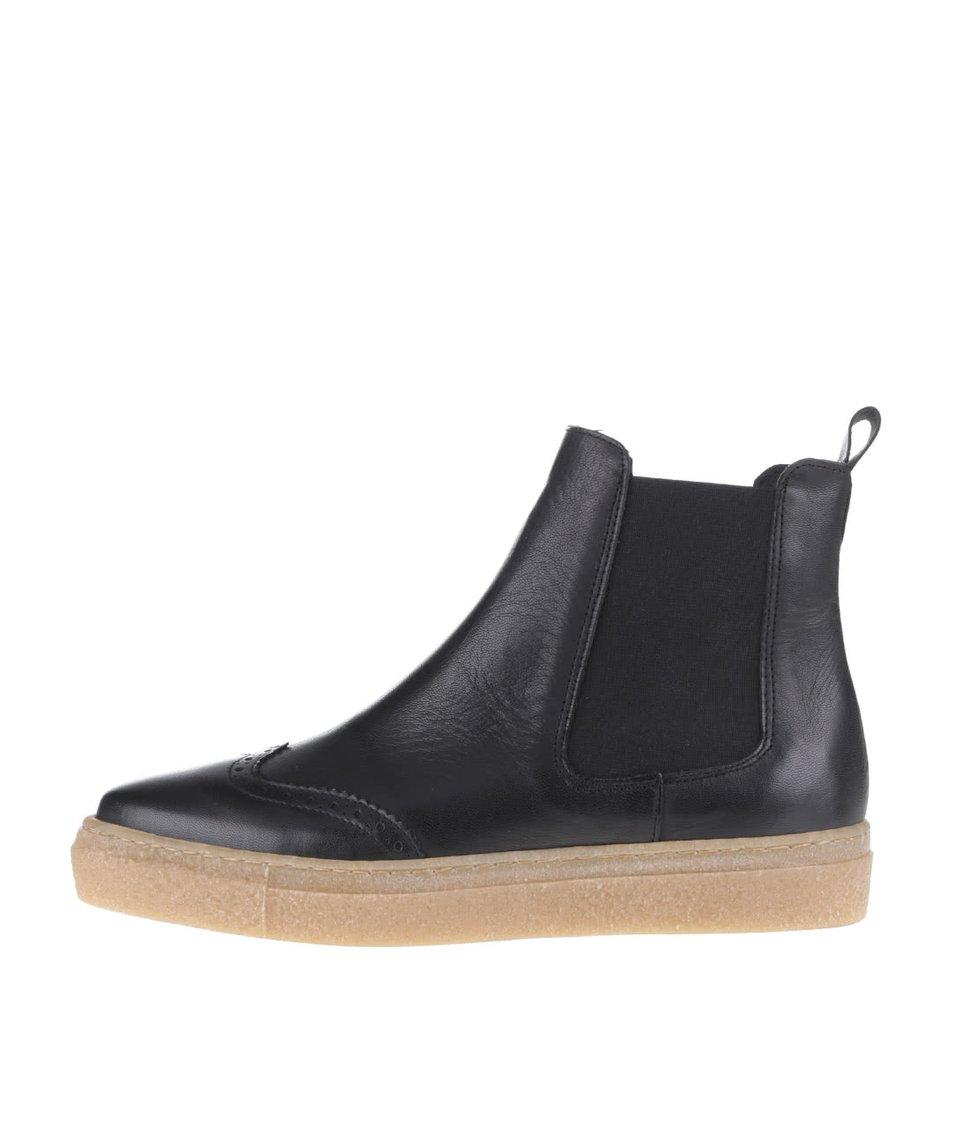 Černé kožené kotníkové boty OJJU Tifon
