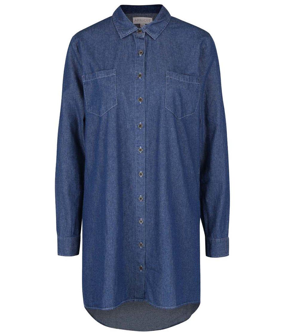 Tmavě modré denim košilové šaty s douhým rukávem Apricot