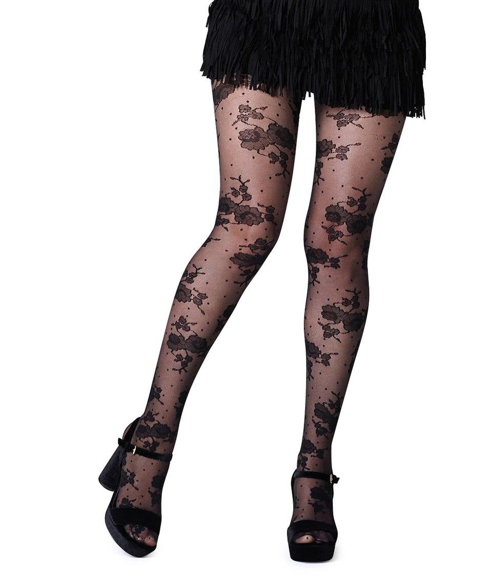Černé punčochy s motivem růží Gipsy