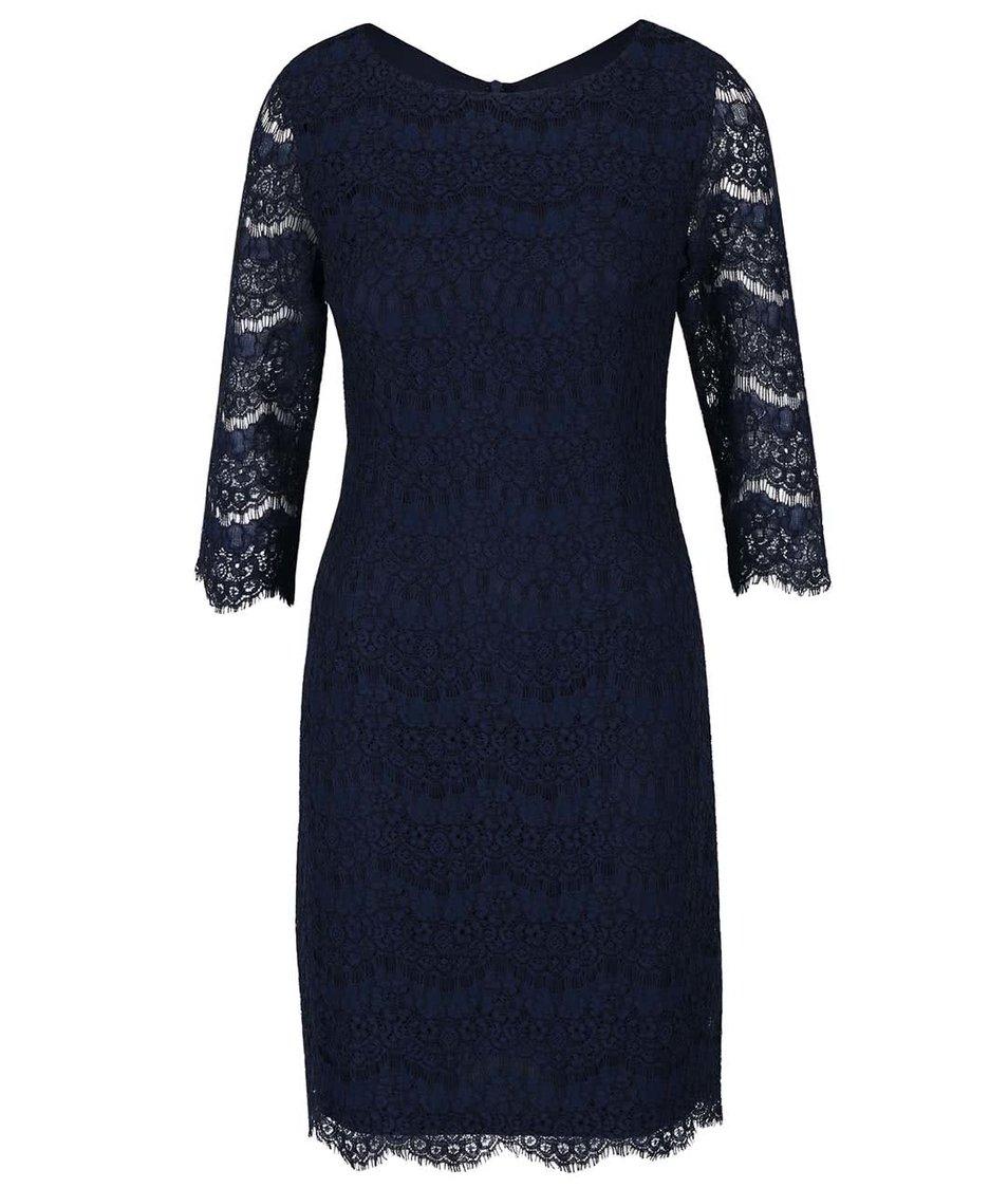 Tmavě modré krajkované šaty s 3/4 rukávy Apricot