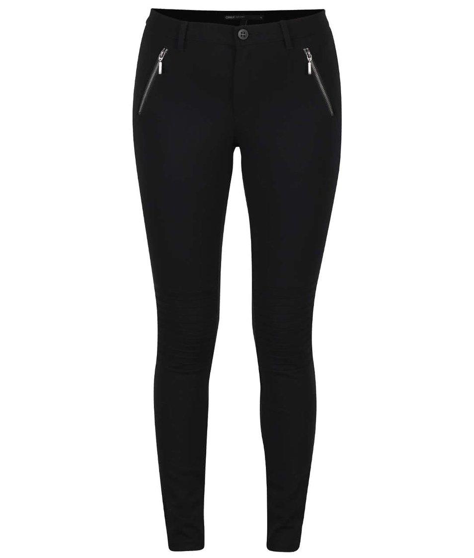 Černé kalhoty se strukturovanými koleny ONLY Evie