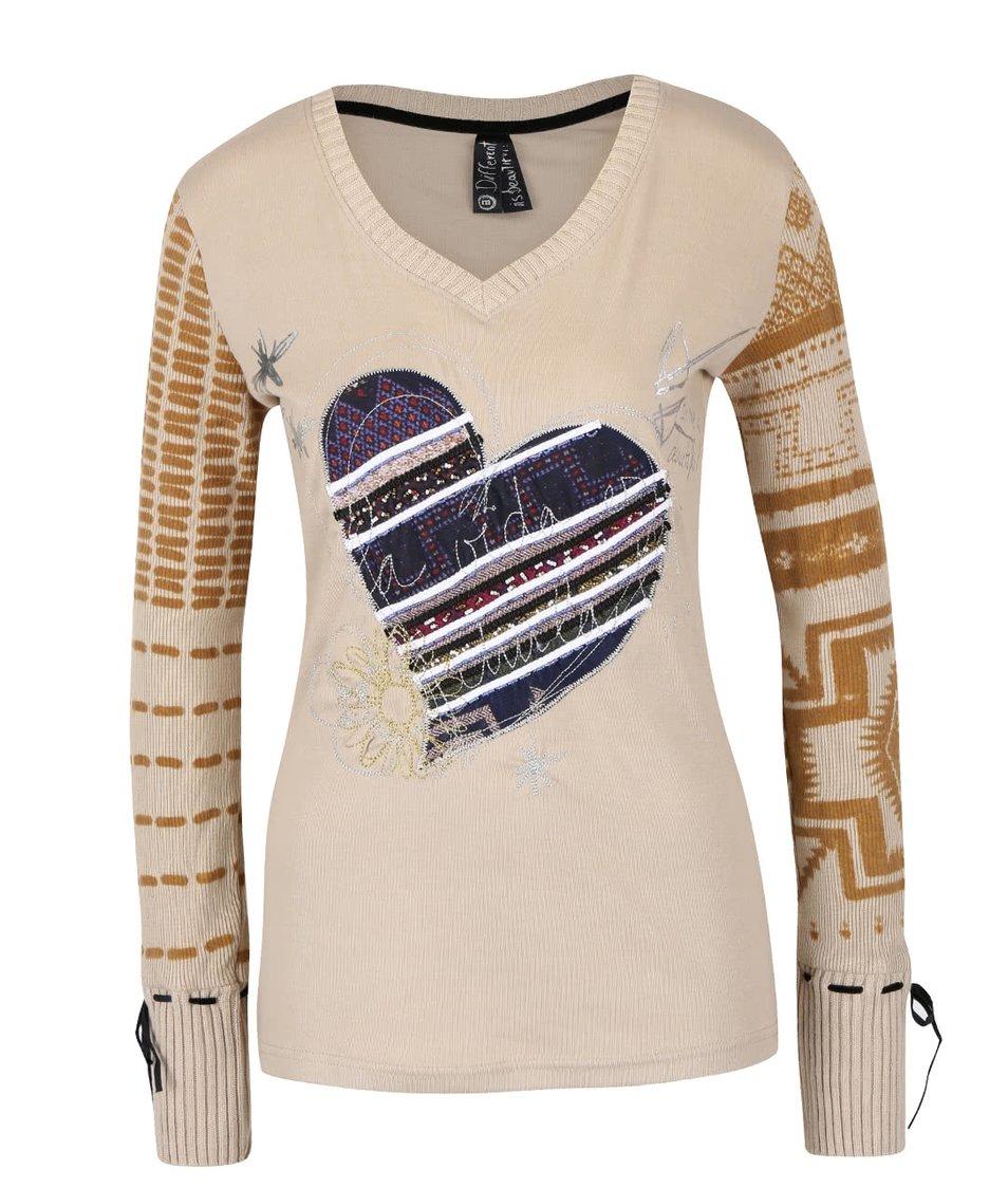 Béžové tričko s dlouhými pletenými rukávy Desigual Canace