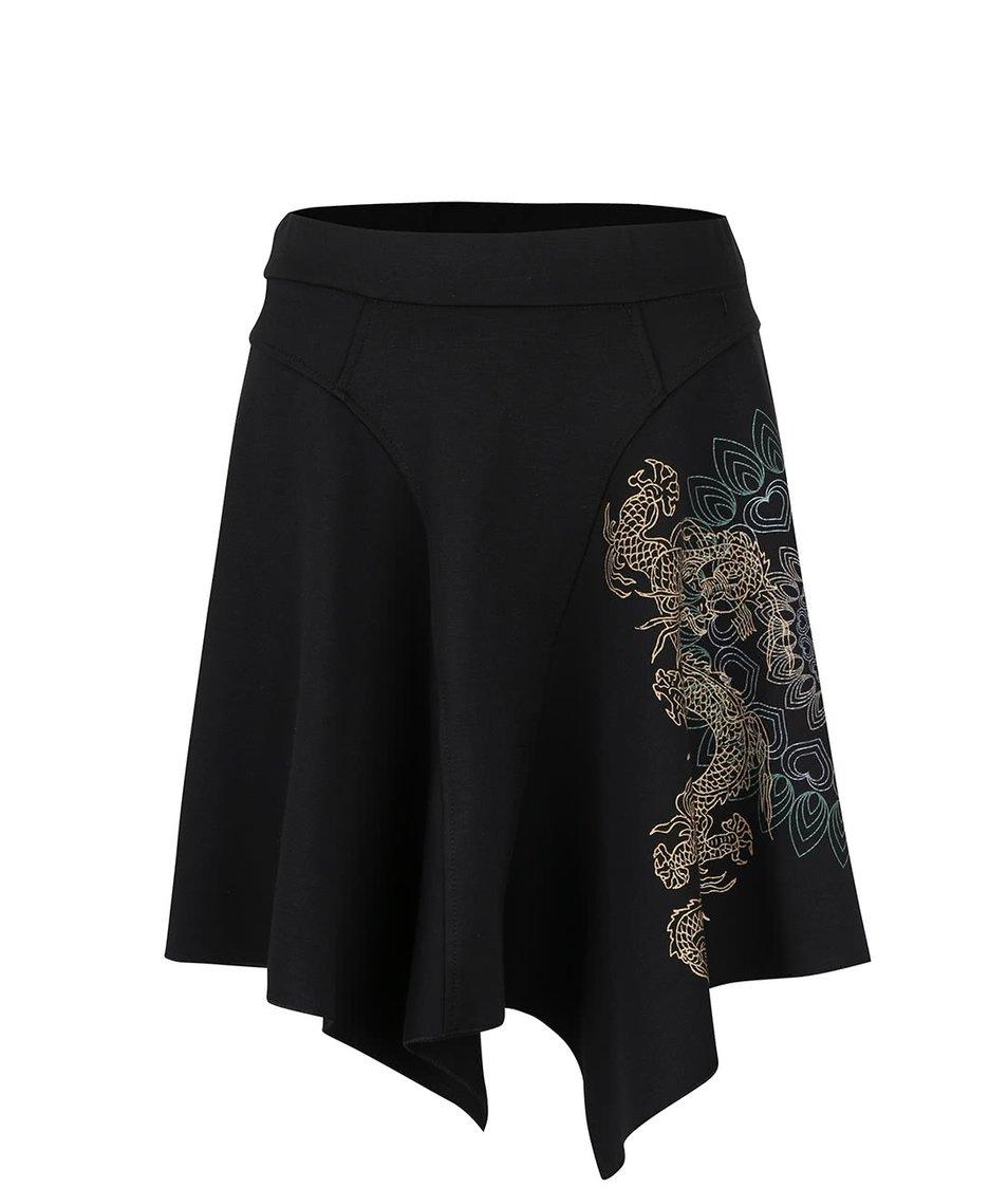 Černá sukně se vzorem Desigual Dragon Dance
