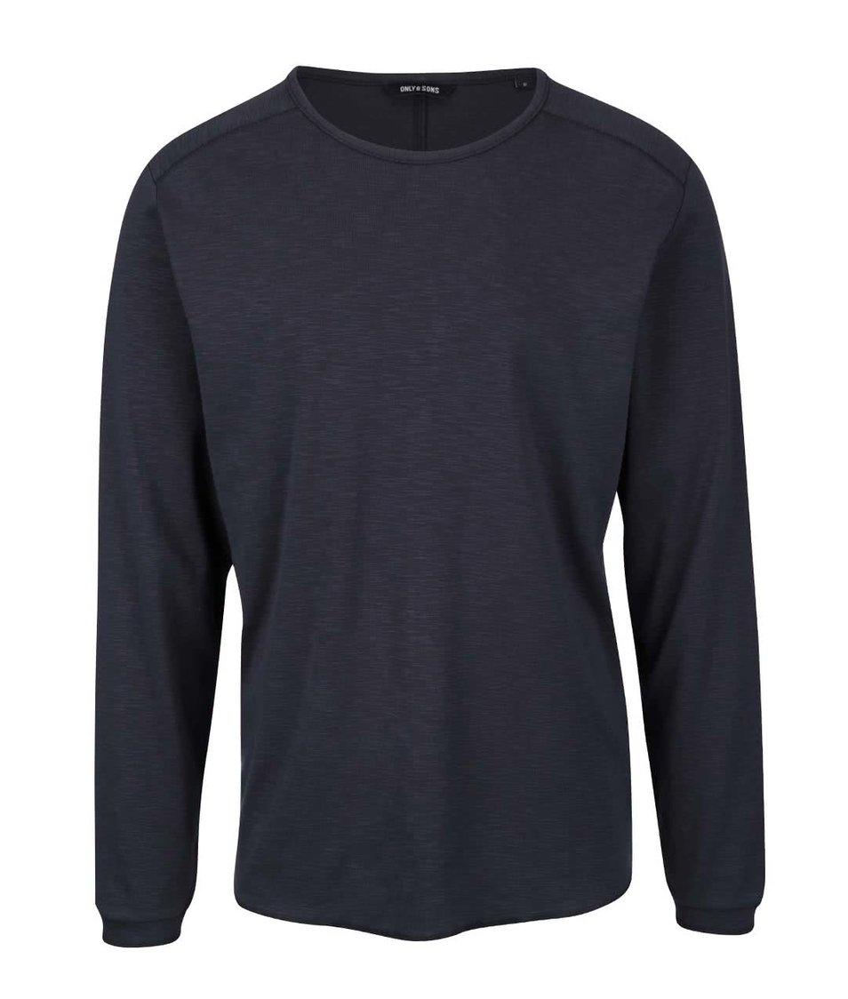 Tmavě modré žíhané triko s dlouhým rukávem ONLY & SONS Karl