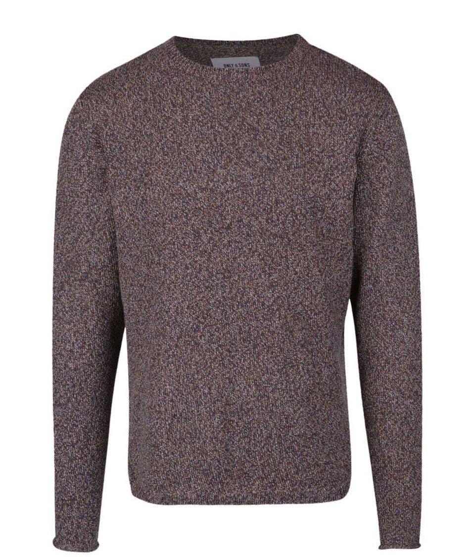 Hnědý žíhaný svetr Only & Sons Drako