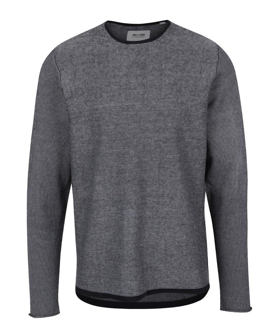 Modro-šedý žíhaný svetr s kulatým výstřihem ONLY & SONS Dima