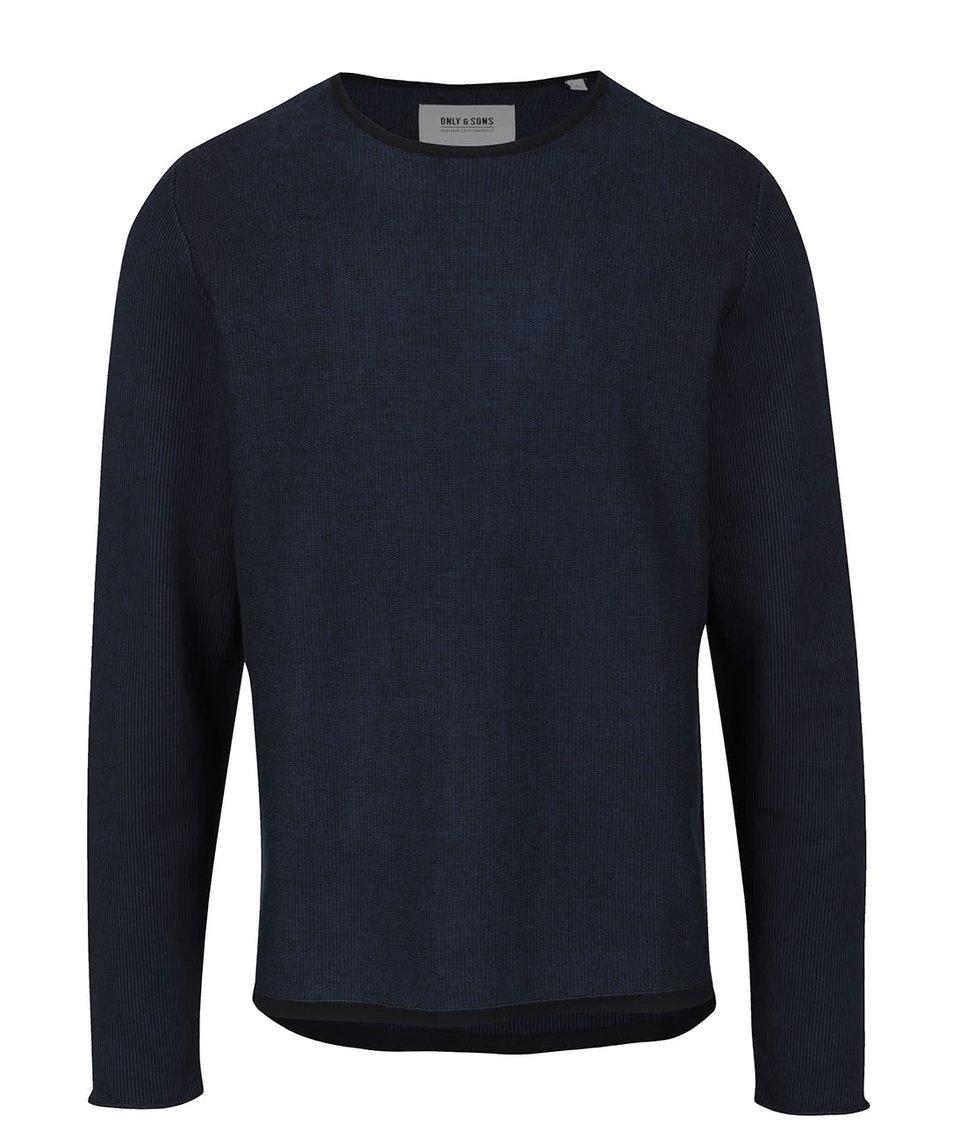 Modro-černý žíhaný svetr s kulatým výstřihem ONLY & SONS Dima