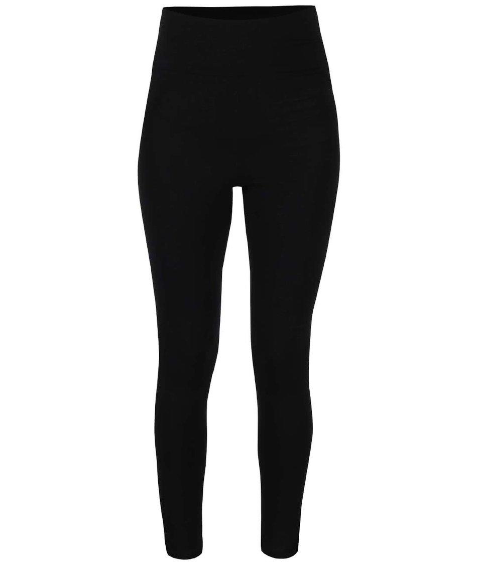 Černé legíny s vysokým pasem a ozdobnými elastickými pásy Quontum