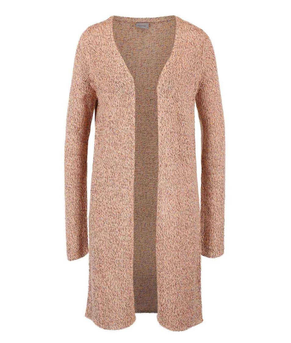Meruňkový žíhaný dlouhý cardigan Vero Moda Jive