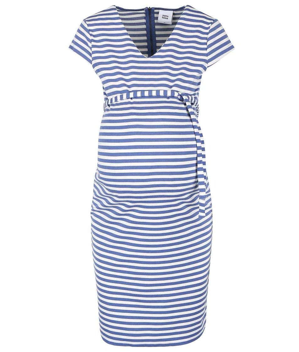 Krémovo-modré pruhované těhotenské šaty Mama.licious Blackie