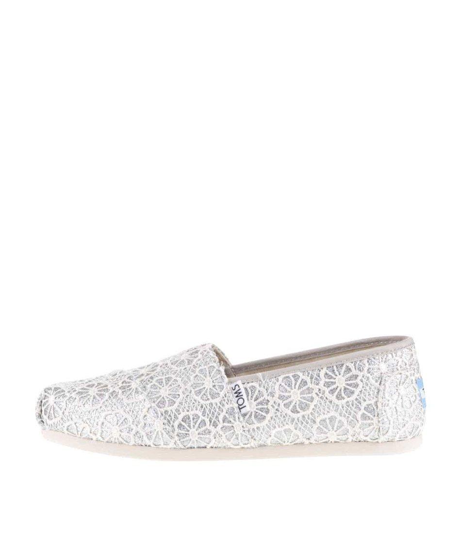 Dámské krajkované loafers v krémovo-stříbrné barvě TOMS