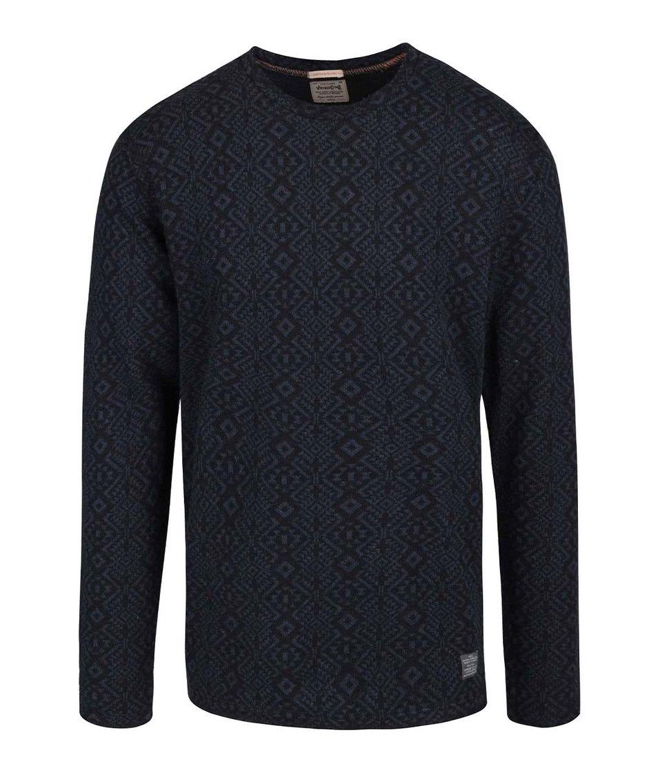 Modro-černý vzorovaný svetr Jack & Jones Veli