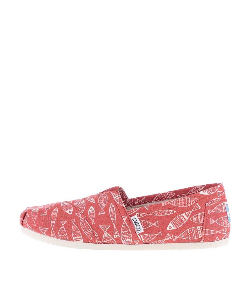 Červené dámské loafers s potiskem ryb TOMS