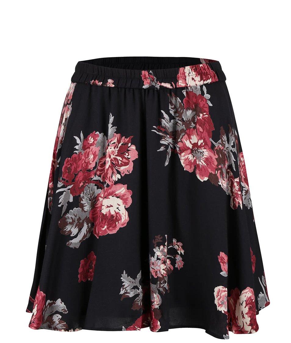 Černá květovaná sukně VILA Wasson