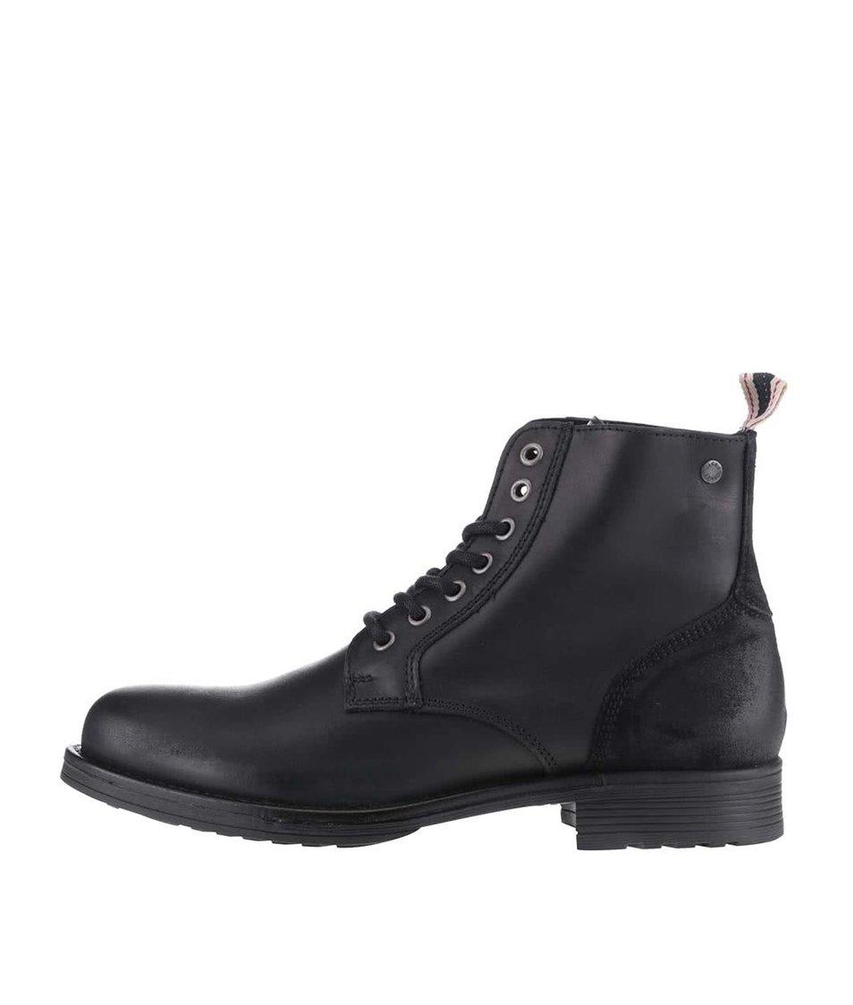 Černé kožené kotníkové boty Jack & Jones Sting