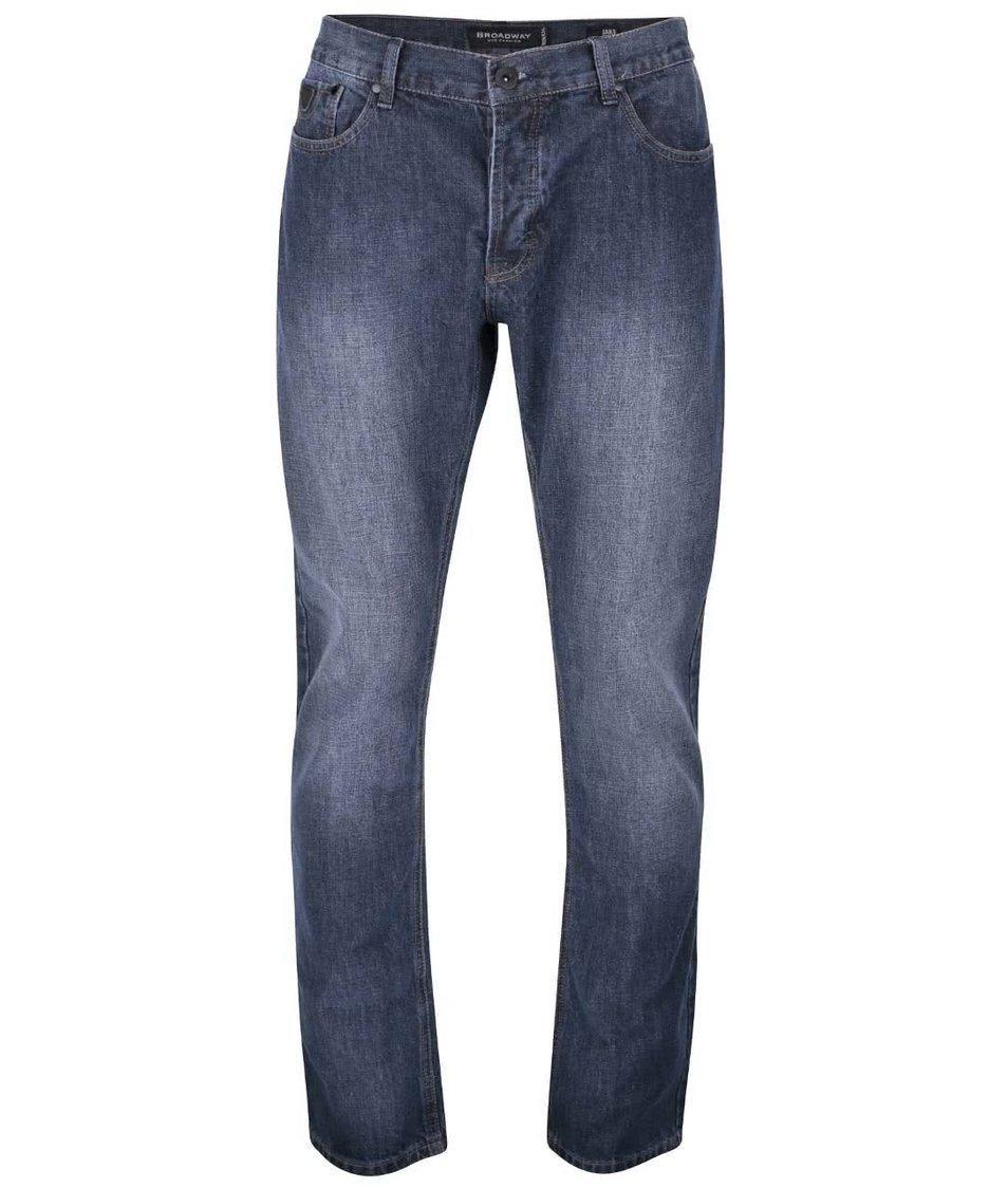 Tmavě modré pánské regular fit džíny s vyšisovaným efektem Broadway Jake