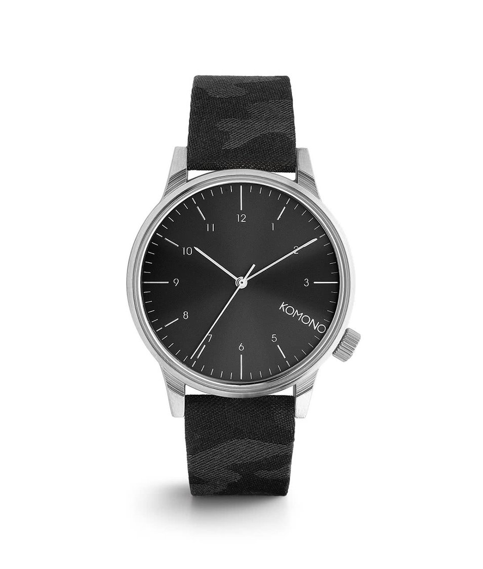 Šedo-černé pánské hodinky Komono Winston Print