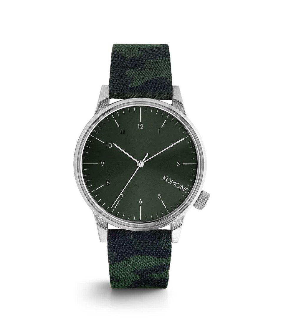 Černo-zelené pánské hodinky s camo vzorem Komono Winston Print