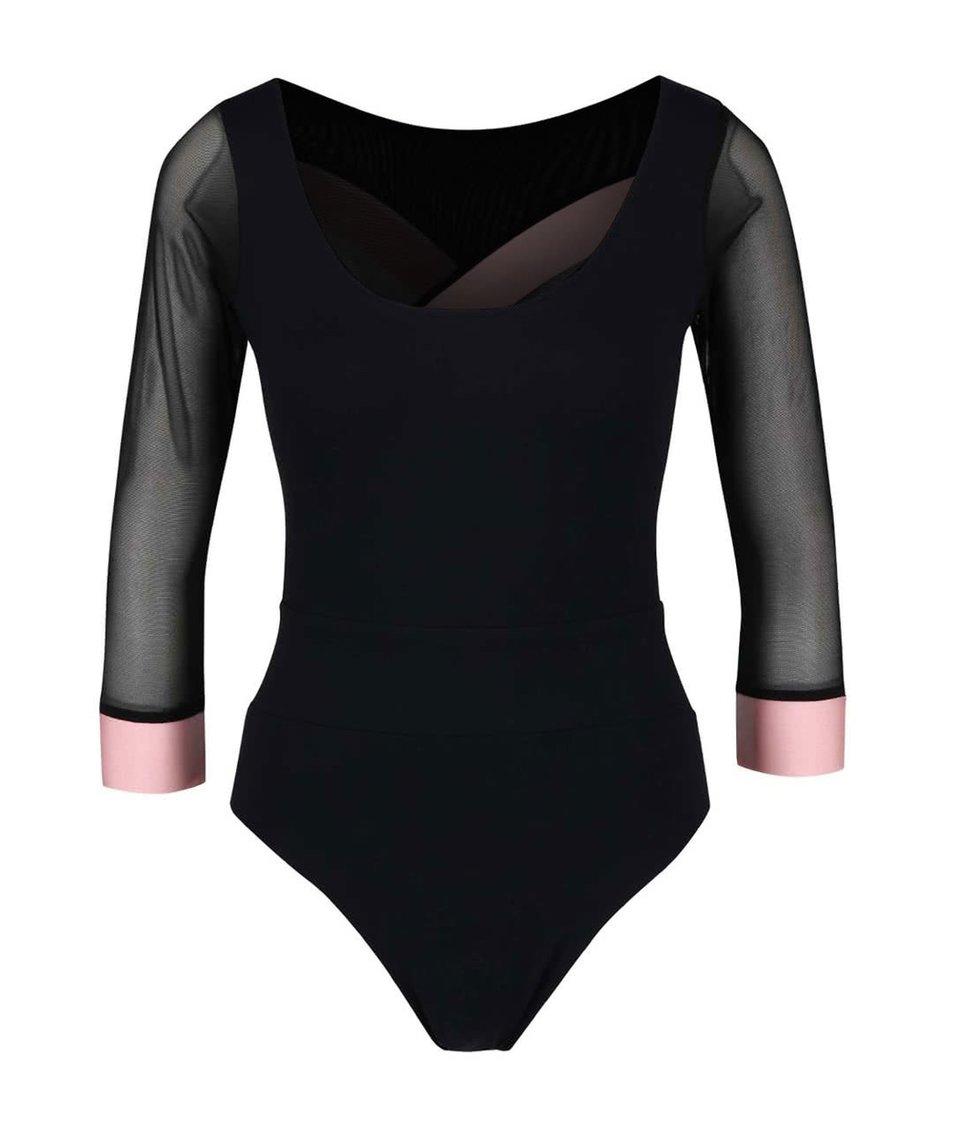 Růžovo-černé sportovní body s odhalenými zády a 3/4 rukávy Quontum