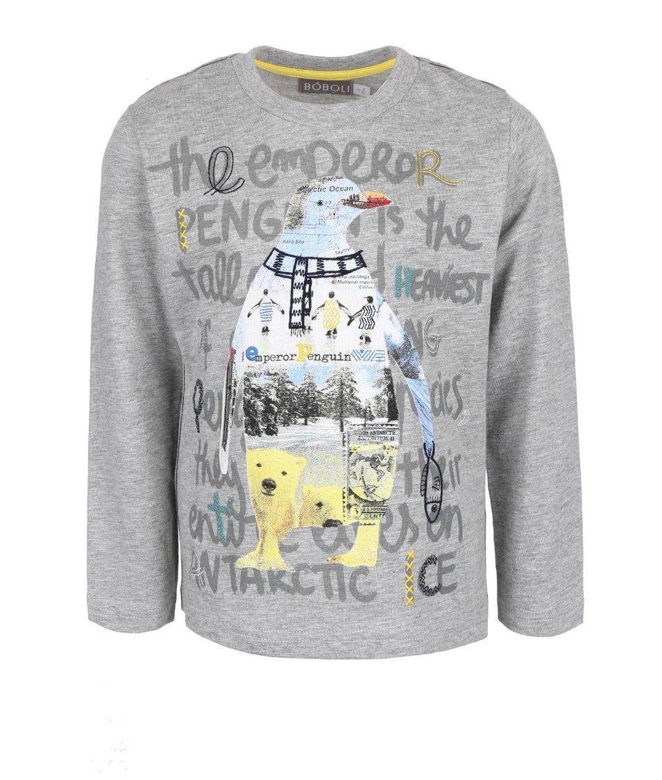 Šedé klučičí triko s tučňákem Bóboli