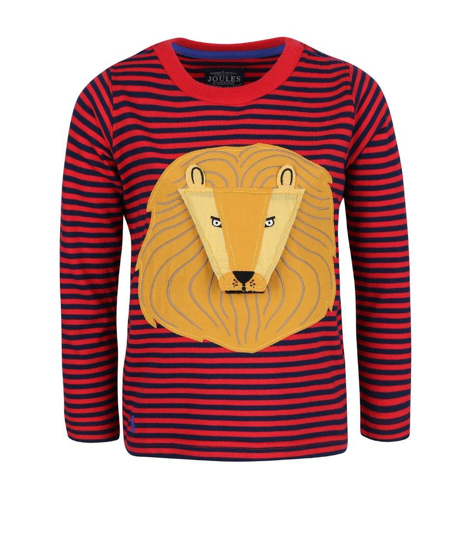 Červené pruhované klučičí triko s nášivkou lva Tom Joule Chomp