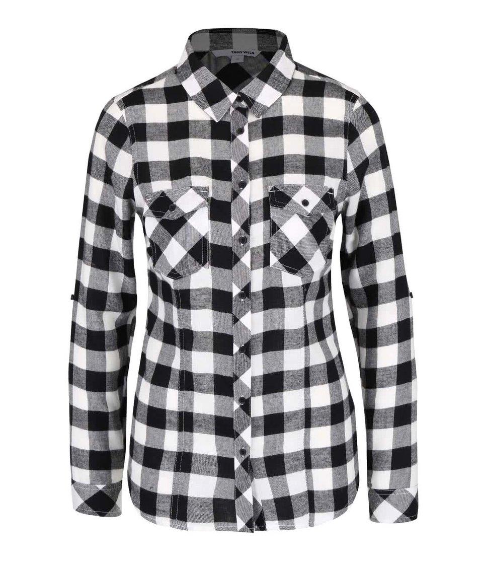 Bílo-černá kostkovaná košile s kapsami TALLY WEiJL