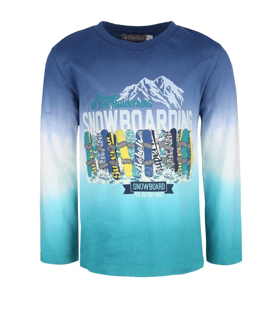 Krémovo-modré klučičí triko se snowboardy Bóboli