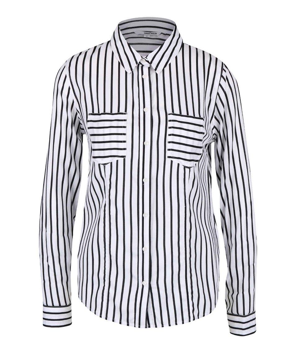 Černo-bílá pruhovaná košile s kapsami TALLY WEiJL