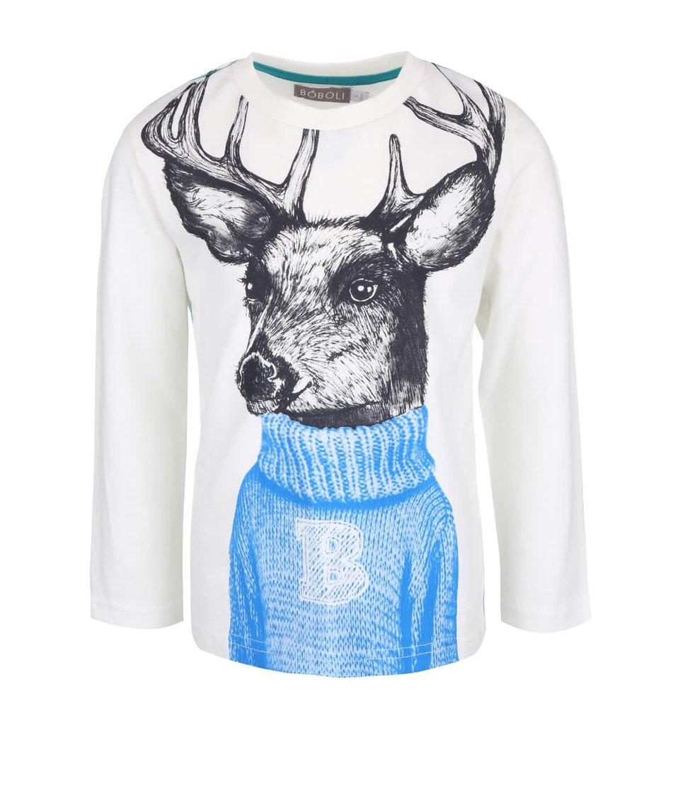 Krémové klučičí triko s potiskem jelena a dlouhým rukávem Bóboli