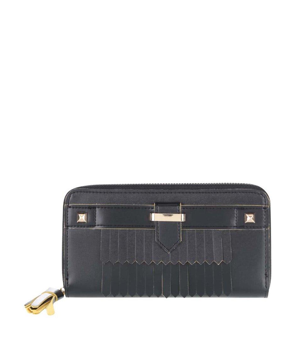 Černá peněženka se střapcem a detaily ve zlaté barvě Anna Smith