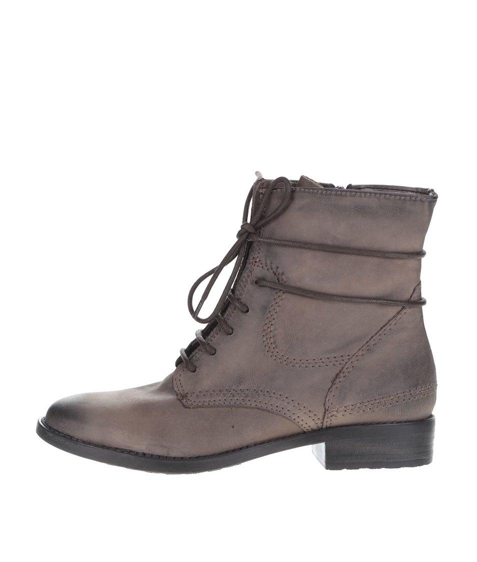 Šedo-hnědé kožené kotníkové boty na šněrování a zip Tamaris