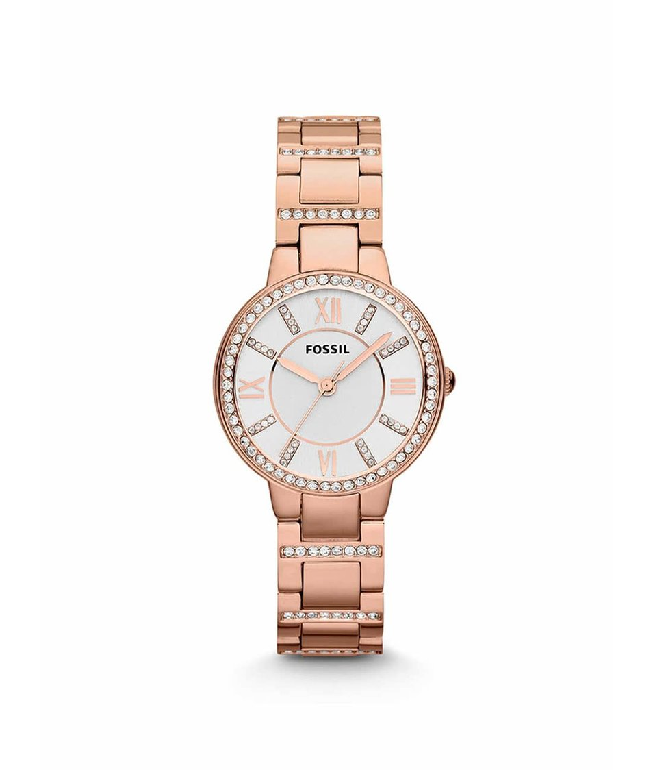 Dámské hodinky v růžovo-zlaté barvě s ozdobnými kamínky Fossil ... bcd98cc8e5
