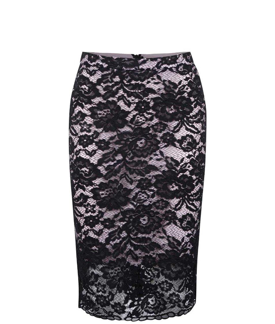 Černo-růžová krajkovaná sukně Miss Selfridge