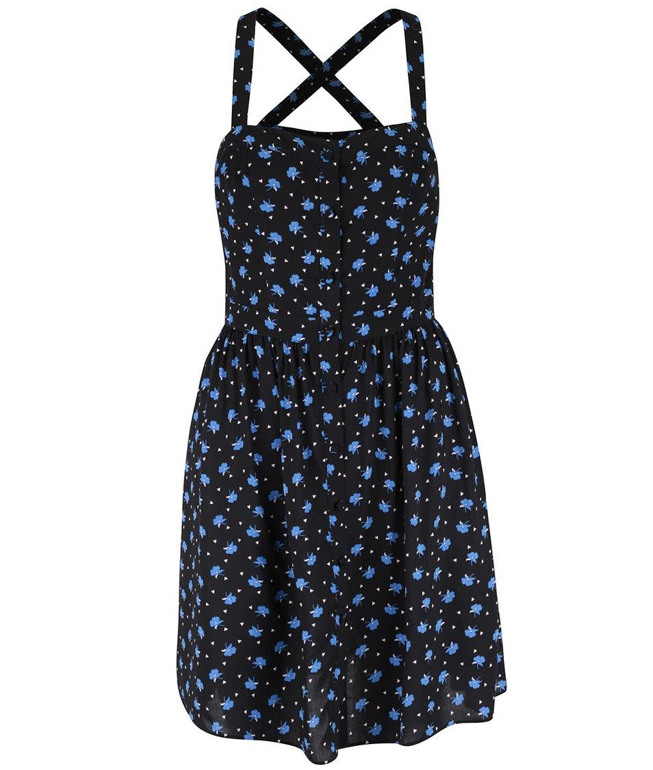 Černé šaty s potiskem modrých květů Miss Selfridge