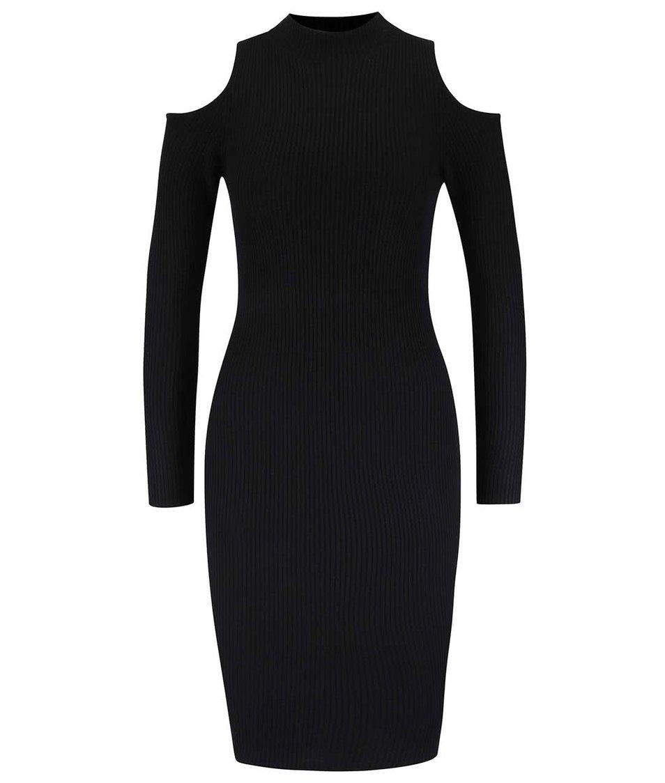Černé žebrované šaty s odhalenými rameny Miss Selfridge